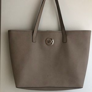Michael Kors large leather grey tote bag